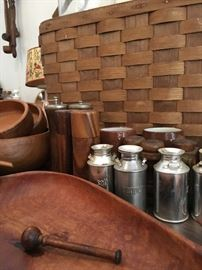 Vintage kitchen items and woodenware