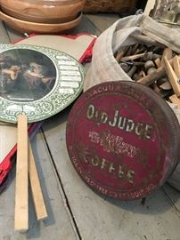 Antique primitives and collectables, St. Louis company Old Judge Coffee lid