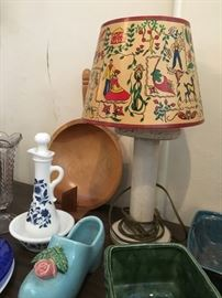 vintage spool lamp with folk art shade, and USA pottery
