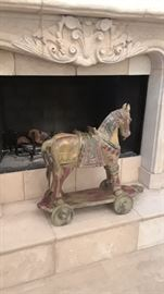 Large upscale decorator carved wood horse