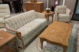 This couch and loveseat are 100 years old!  Our client spent $2,000 for new cushions, frame, springs, etc. to have re-done.  We have a great price on these two pieces.  The coffee/end tables were all purchased at Hutsons, and are in excellent condition.  They are high quality!