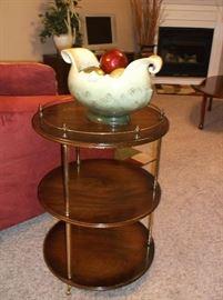 Three tier mahogany round table w/brass rail