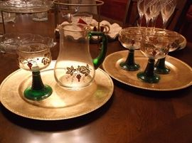 Forest green stem goblets and pitcher