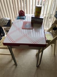 retro red and white table