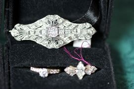 Victorian Brooch with Diamonds, Diamond Rings 1 GIA Certified