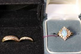 One of Several Wedding Bands, Fiery Opal with Diamonds