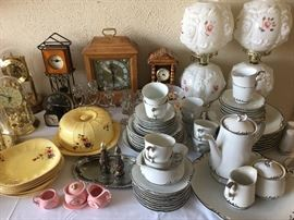 Pretty white china with silver trim, antique parlor lamps, clock collection