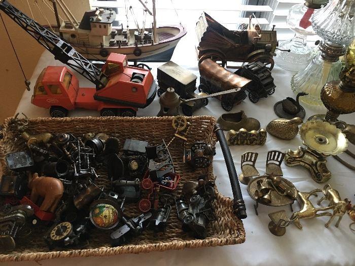 Miniature collection, metal vintage cars, Tonka crane