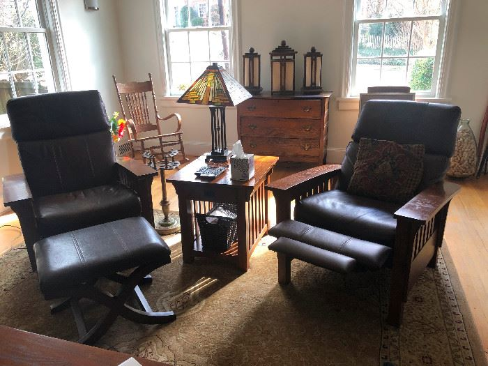 2 matching  Leather mission style reclining chairs and Ottoman