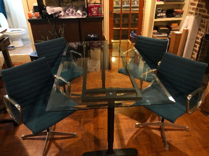 Chrome Comfy Swivel Chairs with Glass Table