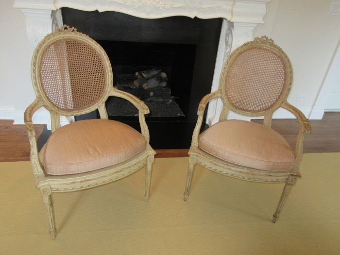 Pair of French antique French, cane chairs  Circa 1880