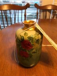 #8 J.P. france red rose painted vase 6 in  $15.00