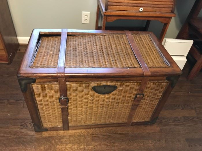 #8 Chest w/wood & Basket Weave $20.00