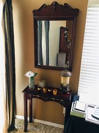 Bombay and co. table and antique mirror