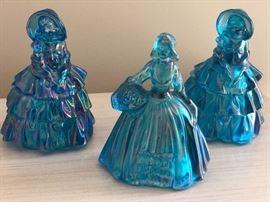 Wheaton/Fenton Blue Carnival Glass Figurines