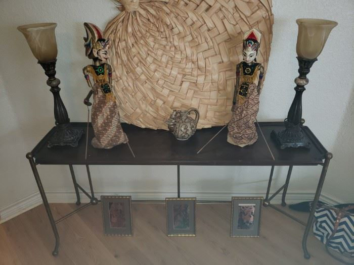 Brass Console Table Marionettes Lamps