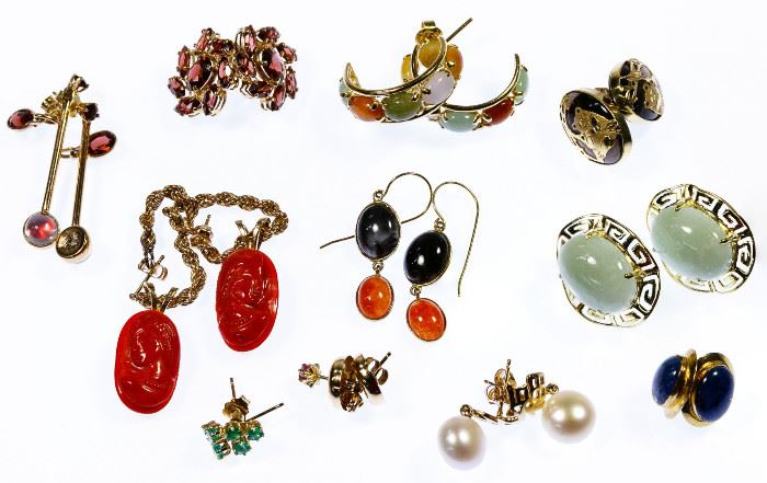 14k Gold and Gemstone Pierced Earring Assortment