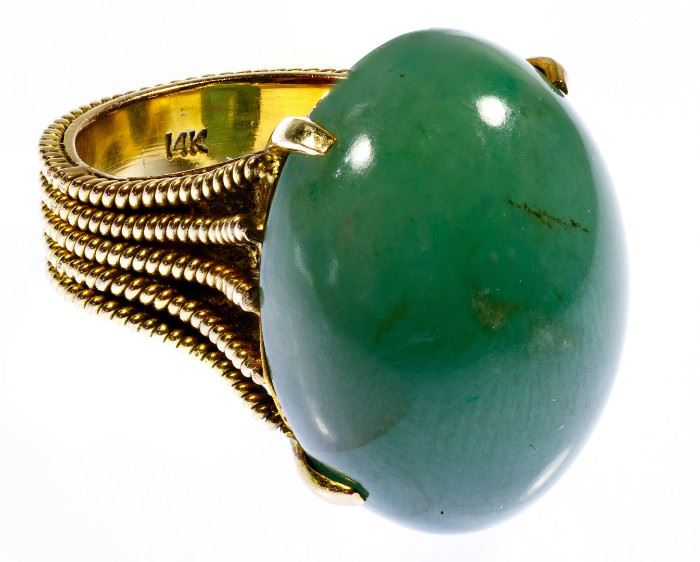 14k Gold and Jadeite Jade Ring