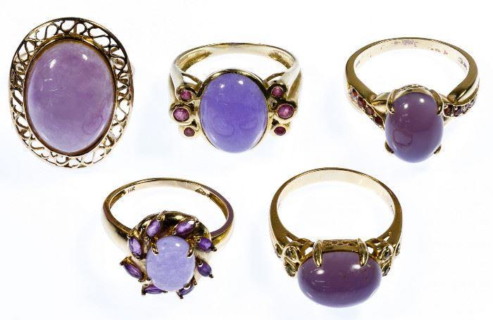 14k Gold and Lavender Jade Ring Assortment
