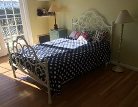 Full Bed - Metal Frame - complete - painted - Floor and Tables Lamps