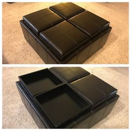 Brown Bonded Leather Storage/Serving Ottoman