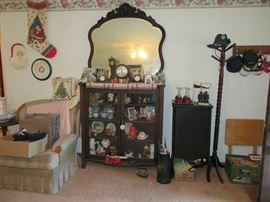 Beautiful cabinet with mirror and antique music cabinet