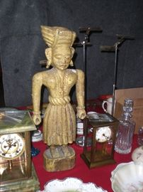 """early Chinese 25"""" carved wood articulated figure with original paint"""