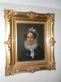 oil painting portrait of Johanne Van Weise in bonnet and millstone collar of pleated linen c.1800 in fantastic gold frame