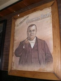 """""""Do You Drink Columbia Beer"""" framed paper advertisement c.1890"""