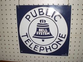 porcelain Bell System Public Telephone sign