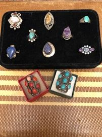 Sterling, turquoise and gemstone rings