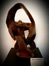 Shona Sculpture, 3 Eagles Fighting for Fish