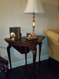 Drop leaf corner/handkerchief table.  Reproduction of 1730 English table.  Queen Anne style.  Williamsburg Restoration collection.