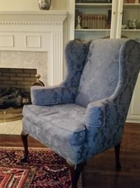 Blue custom upholstered wing back chair.  Cushion is down filled.  Queen Anne style.