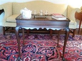 This  tea table is a reproduction of the one in Peyton Randolph House, Williamsburg, VA  1735-1750, Queen Ann style.