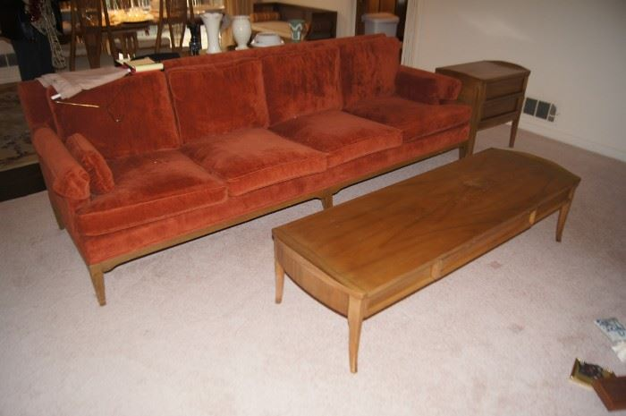 American of Martinsville coffee table. Sofa unknown manufacturer