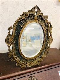 Estate piece cast Iron Antique Louis James Cigar Advertising Stand up Counter top Mirror from a General Store in Salem Virginia.