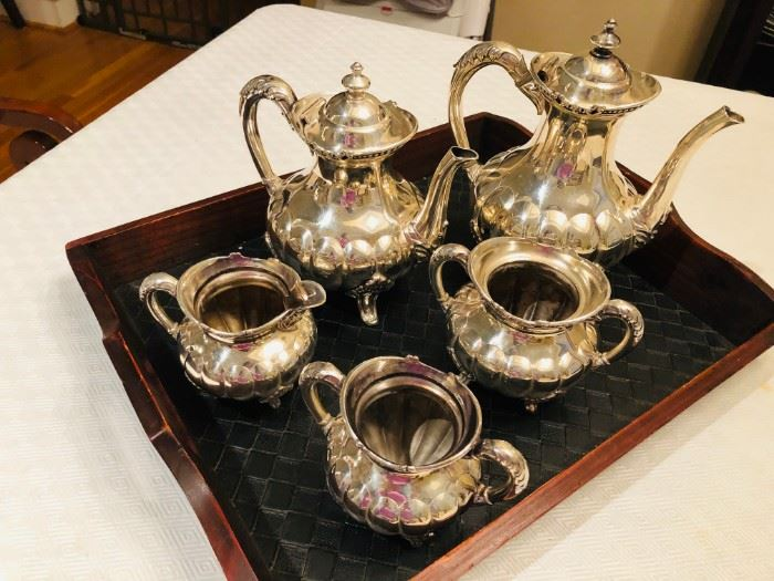 5-piece C. Rogers & Bros 1256 tea set