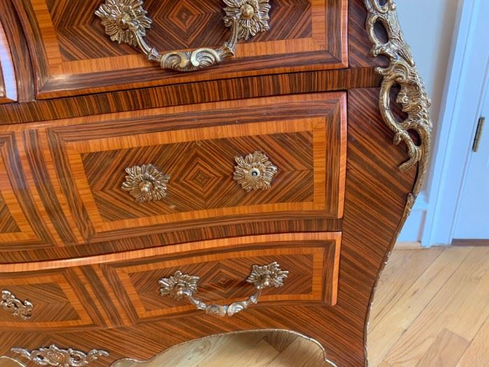 Louis XV Ornate French Bombay chest with Bronze ormolu.