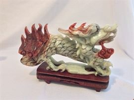 """Green and Red Carved Stone Dragon, 11"""" L."""