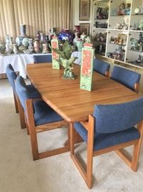 "84"" Teak Dining Room Table and 6 Chairs."