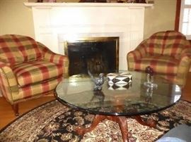 Sherrill chairs-glass top coffee table on a traditional mahogany carved base