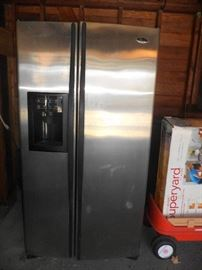 GE Profile Antarctica series side by side fridge (in garage) working condition