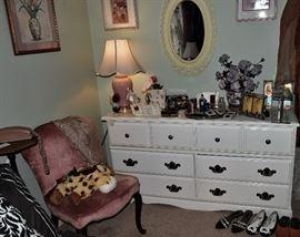 Guest Bedroom White Dresser and Pink Velvet Side Chair