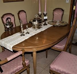 Mystique Dining Room Table, 6 Chairs and 2 leaves, by Barker Brothers