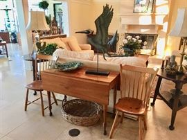 Drop Leaf Table - Pair of Chairs - Basket - Great assortment of Pottery, Porcelain and Metal Decor