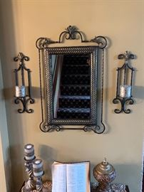 Wall mirror and candle holders. $129