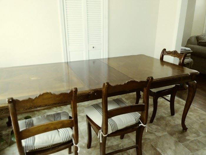 large antique dining table and chairs - will need some love!
