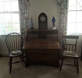 Antique Slant Lid Desk, Assortment of clocks and chairs etc