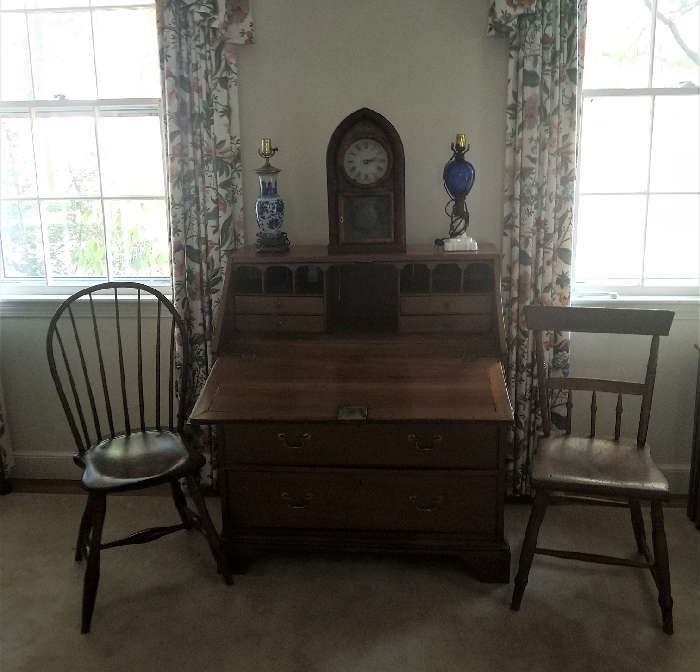 Antique Slant Lid Desk, Assortment of clocks and chairs etc